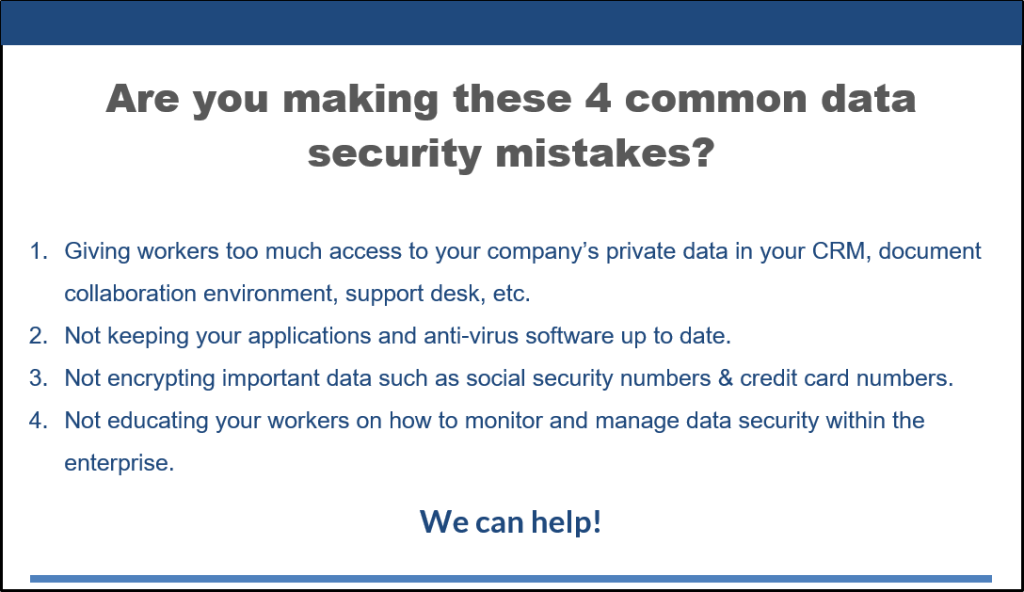 Cyber Security common data security mistakes