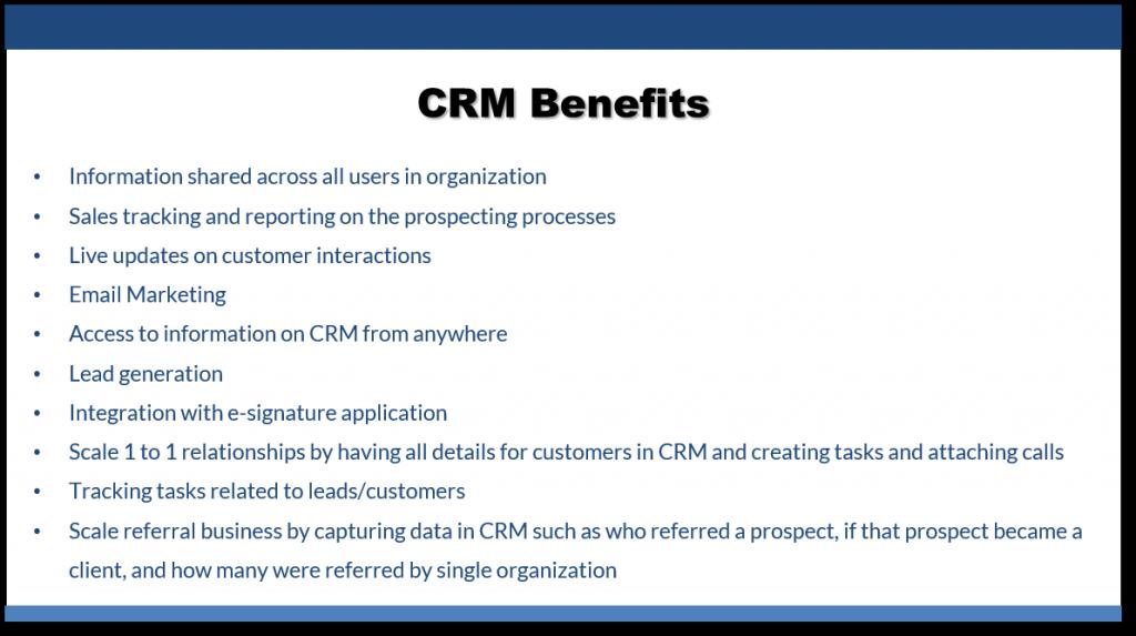 CRM benefits list