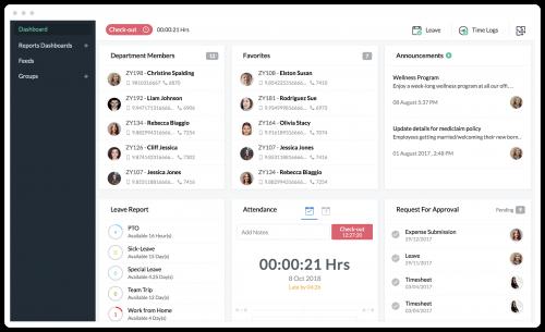 Zoho People HR app dashboard
