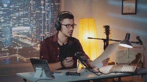 man recording speech to text