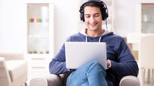 man listening to text to speech
